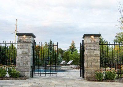 Poolside Stonework Gate
